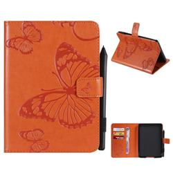 Embossing 3D Butterfly Leather Wallet Case for Amazon Kindle Paperwhite (2018) - Orange