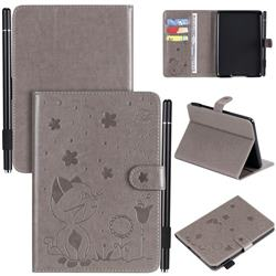 Embossing Bee and Cat Leather Flip Cover for Amazon Kindle Paperwhite (2018) - Gray