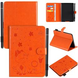 Embossing Bee and Cat Leather Flip Cover for Amazon Kindle Paperwhite (2018) - Orange