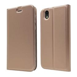 Ultra Slim Card Magnetic Automatic Suction Leather Wallet Case for Android One S3 - Rose Gold