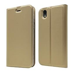 Ultra Slim Card Magnetic Automatic Suction Leather Wallet Case for Android One S3 - Champagne