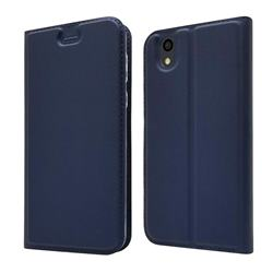 Ultra Slim Card Magnetic Automatic Suction Leather Wallet Case for Android One S3 - Royal Blue