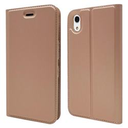 Ultra Slim Card Magnetic Automatic Suction Leather Wallet Case for Android One S4 - Rose Gold