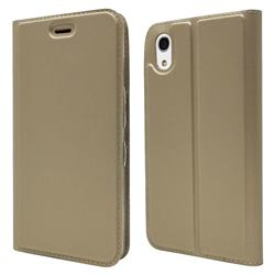 Ultra Slim Card Magnetic Automatic Suction Leather Wallet Case for Android One S4 - Champagne