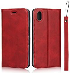 Calf Pattern Magnetic Automatic Suction Leather Wallet Case for Android One S4 - Red