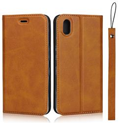 Calf Pattern Magnetic Automatic Suction Leather Wallet Case for Android One S4 - Brown