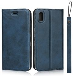 Calf Pattern Magnetic Automatic Suction Leather Wallet Case for Android One S4 - Blue