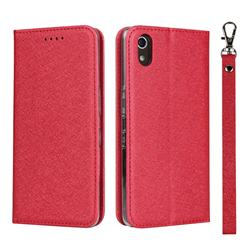 Ultra Slim Magnetic Automatic Suction Silk Lanyard Leather Flip Cover for Android One S4 - Red