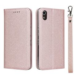 Ultra Slim Magnetic Automatic Suction Silk Lanyard Leather Flip Cover for Android One S4 - Rose Gold