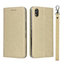 Ultra Slim Magnetic Automatic Suction Silk Lanyard Leather Flip Cover for Android One S4 - Golden