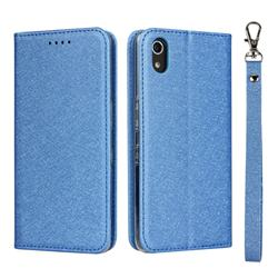 Ultra Slim Magnetic Automatic Suction Silk Lanyard Leather Flip Cover for Android One S4 - Sky Blue
