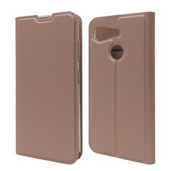 Ultra Slim Card Magnetic Automatic Suction Leather Wallet Case for Kyocera Android One S6 - Rose Gold