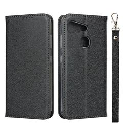 Ultra Slim Magnetic Automatic Suction Silk Lanyard Leather Flip Cover for Kyocera Android One S6 - Black
