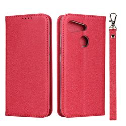 Ultra Slim Magnetic Automatic Suction Silk Lanyard Leather Flip Cover for Kyocera Android One S6 - Red