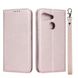 Ultra Slim Magnetic Automatic Suction Silk Lanyard Leather Flip Cover for Kyocera Android One S6 - Rose Gold