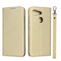 Ultra Slim Magnetic Automatic Suction Silk Lanyard Leather Flip Cover for Kyocera Android One S6 - Golden