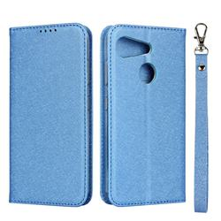 Ultra Slim Magnetic Automatic Suction Silk Lanyard Leather Flip Cover for Kyocera Android One S6 - Sky Blue