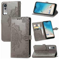 Embossing Imprint Mandala Flower Leather Wallet Case for Kyocera Android One S8 - Gray