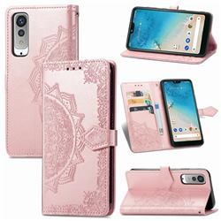 Embossing Imprint Mandala Flower Leather Wallet Case for Kyocera Android One S8 - Rose Gold