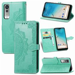 Embossing Imprint Mandala Flower Leather Wallet Case for Kyocera Android One S8 - Green