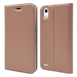 Ultra Slim Card Magnetic Automatic Suction Leather Wallet Case for Android One X3 - Rose Gold