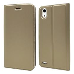 Ultra Slim Card Magnetic Automatic Suction Leather Wallet Case for Android One X3 - Champagne