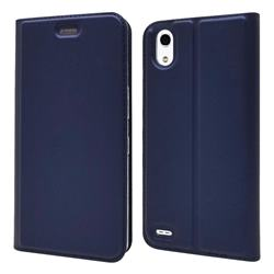 Ultra Slim Card Magnetic Automatic Suction Leather Wallet Case for Android One X3 - Royal Blue