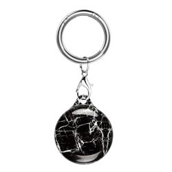 Soft TPU IMD Key Ring Secure Holder Case for Apple AirTag - Classic Black Marble