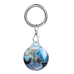 Soft TPU IMD Key Ring Secure Holder Case for Apple AirTag - Aquamarine Marble