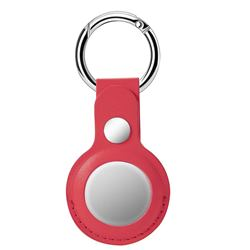 Leather Loop Key Ring Secure Holder Case for Apple AirTag - Red