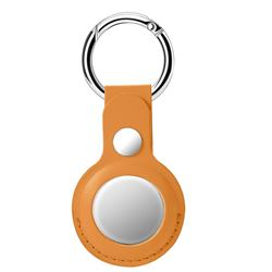 Leather Loop Key Ring Secure Holder Case for Apple AirTag - Khaki