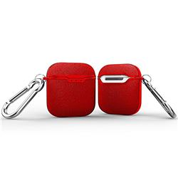 Howmak Litchi Texture Anti-fall Silicone Case for Apple AirPods - Red