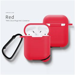 Waterproof Mountaineering Anti-fall Silicone Protective Case for Apple AirPods - Red