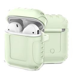 Shockproof Anti-fall Armor Silicone Case for Apple AirPods - Fluorescence Green