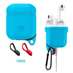 Waterproof Anti-fall Silicone Protective Case for Apple AirPods - Blue