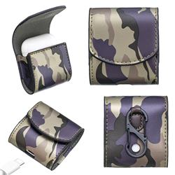 Camouflage Pattern PU Leather Protective Case for Apple AirPods - Purple
