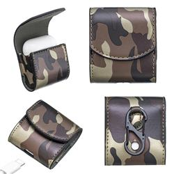Camouflage Pattern PU Leather Protective Case for Apple AirPods - Brown