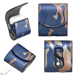 Camouflage Pattern PU Leather Protective Case for Apple AirPods - Blue
