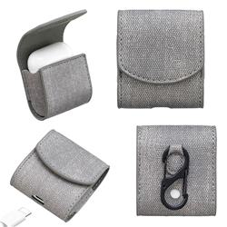 Jeans Cowboy Denim Pattern PU Leather Protective Case for Apple AirPods - Gray