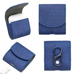 Jeans Cowboy Denim Pattern PU Leather Protective Case for Apple AirPods - Blue