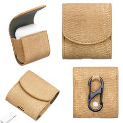 Jeans Cowboy Denim Pattern PU Leather Protective Case for Apple AirPods - Khaki