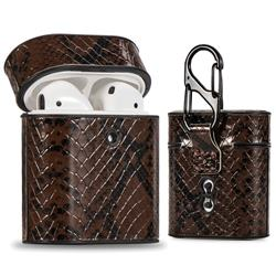 Python Pattern Leather Pouch Protective Case for Apple AirPods 1 2 - Brown