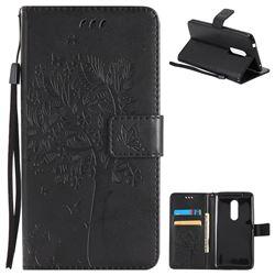 Embossing Butterfly Tree Leather Wallet Case for ZTE Axon 7 - Black