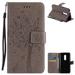 Embossing Butterfly Tree Leather Wallet Case for ZTE Axon 7 - Grey