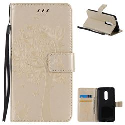 Embossing Butterfly Tree Leather Wallet Case for ZTE Axon 7 - Champagne
