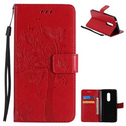 Embossing Butterfly Tree Leather Wallet Case for ZTE Axon 7 - Red