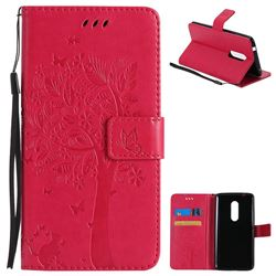 Embossing Butterfly Tree Leather Wallet Case for ZTE Axon 7 - Rose