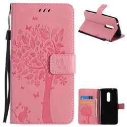 Embossing Butterfly Tree Leather Wallet Case for ZTE Axon 7 - Pink