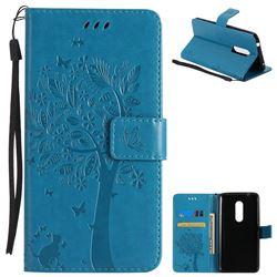 Embossing Butterfly Tree Leather Wallet Case for ZTE Axon 7 - Blue