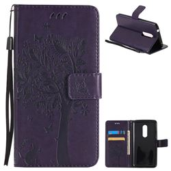 Embossing Butterfly Tree Leather Wallet Case for ZTE Axon 7 - Purple